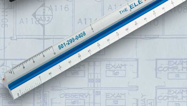 Color coded triangular drafting scales for Blueprint scale